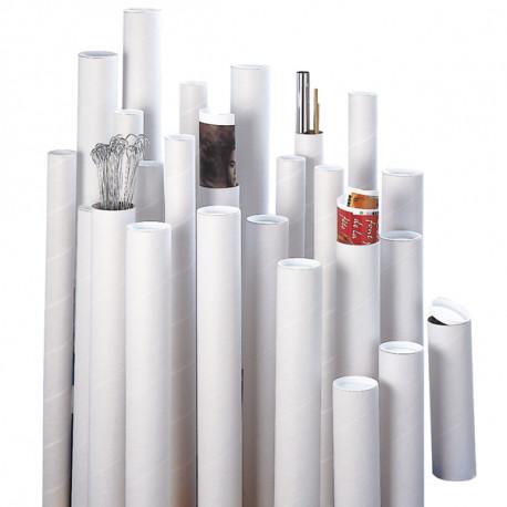 Tube d'expédition à bouchons plastiques blanc 620 x 100 mm
