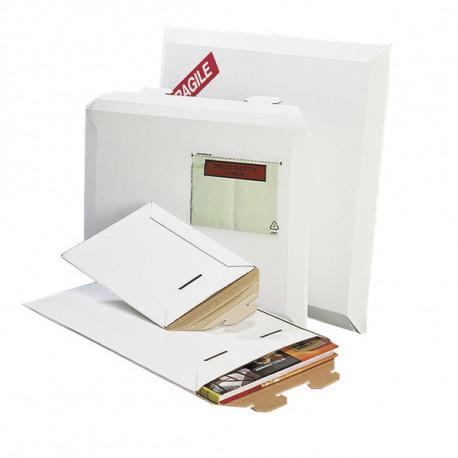 Pochette d'expédition carton ondulé blanc fermeture par patte de vérouillage 250 x 360 mm