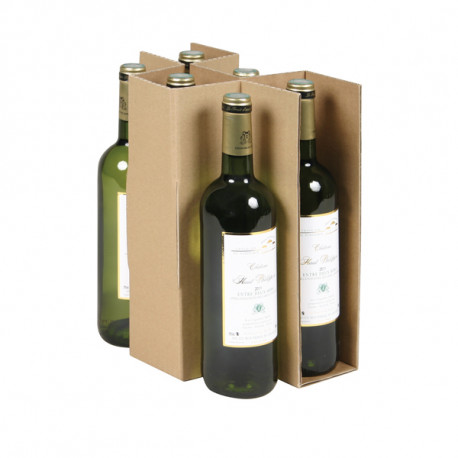 Croisillons caisses 6 bouteilles Simple cannelure  686 x 399 mm