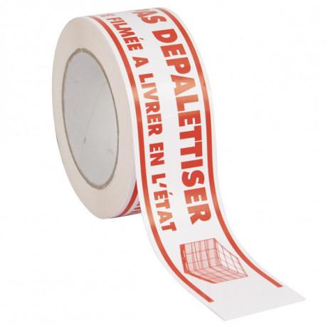 Ruban adhésif PVC Solvant - blanc impression NE PAS DEPALETTISER - 48 mm x 100m