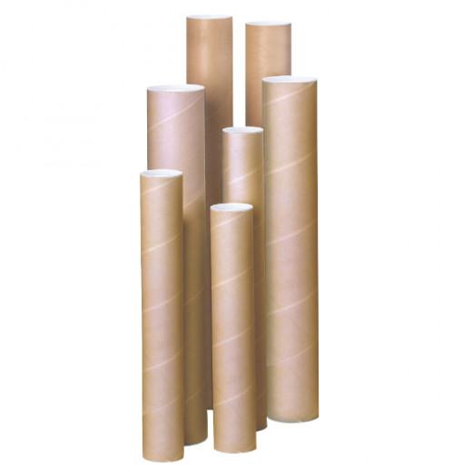Tube d'expédition à bouchons plastiques beige 1220 x 100 mm
