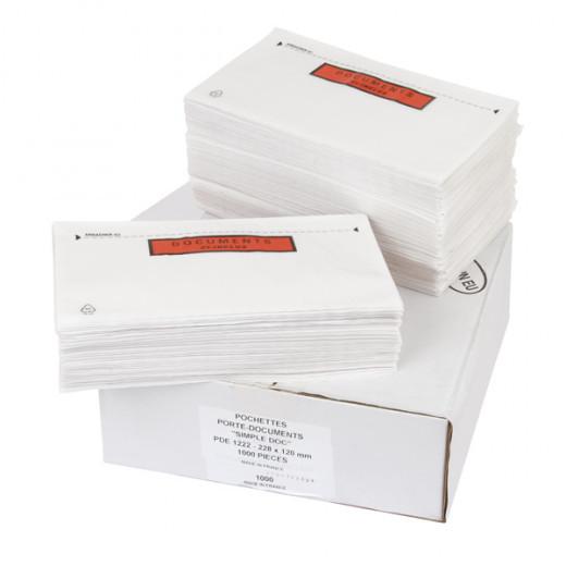 Pochettes porte-documents adhésivée impression Documents ci-inclus Simple-Doc - 39g/² 165mm x 228 mm