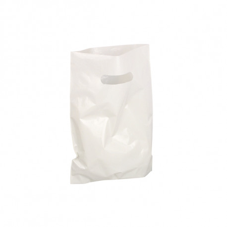 Sac plastique poignée découpée blanc 250 x 350 + 40 mm - 50µ