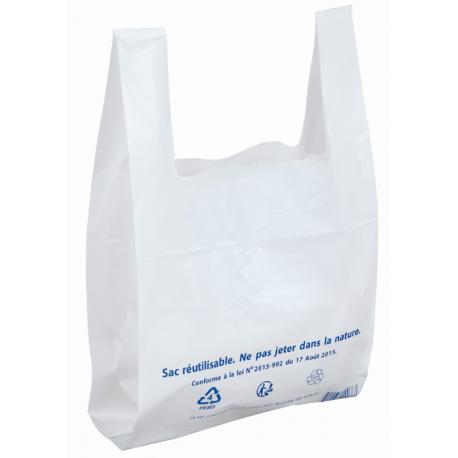 Sac plastique à bretelles blanc 260 x 450 + 120 mm - 50µ